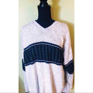Liberty Sweaters Vintage v-neck stripe sweater